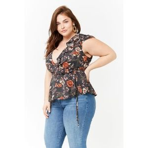 Boho floral wrap top plus size bohemian blouse